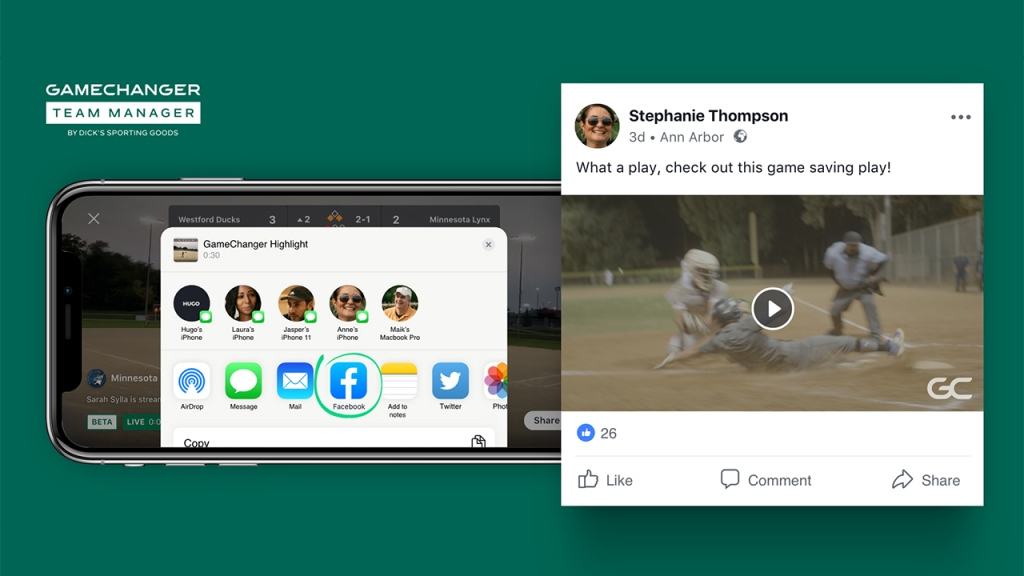 Dick's Sporting Goods' GameChanger App Unveils Highlight-Clip Feature